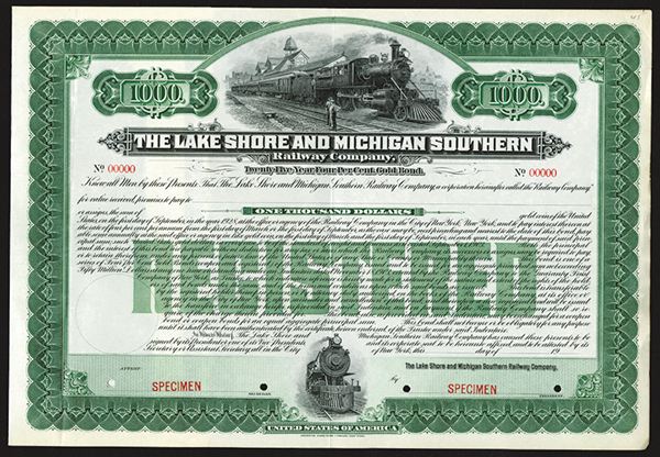 Lake Shore and Michigan Southern Railway Co. 1928 Specimen Bond