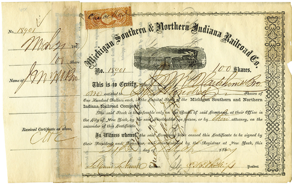 Michigan Southern and Northern Indiana Railroad Co., 1867 Issued Stock