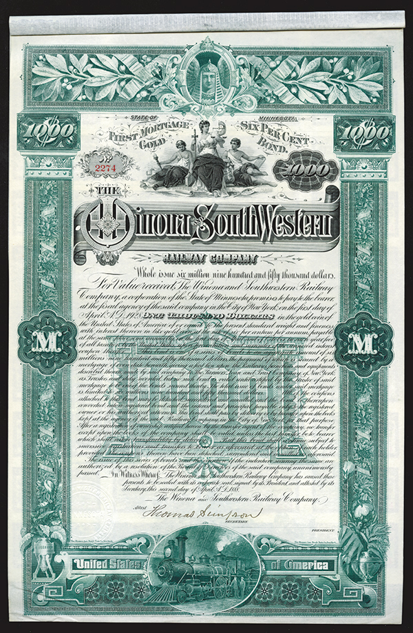 Winona and South Western Railway Co., 1888 Bond.