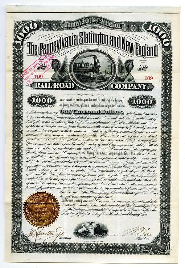 Pennsylvania, Slatington and New England Rail Road Co., 1882 6% Coupon Bond.