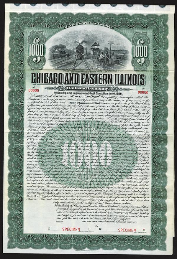 Chicago and Eastern Illinois Railroad Co. 1905 Specimen Bond