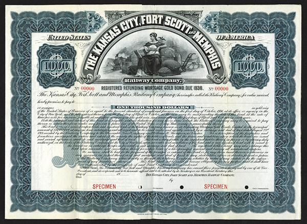 Kansas City, Fort Scott and Memphis Railway Co. ca.1920 Specimen Bond