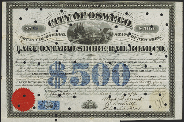 Lake Ontario Shore Rail Road Co., 1871 Issued Bond.
