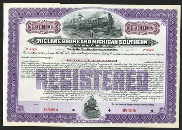 Lake Shore and Michigan Southern Railway Co. 1903 Specimen Bond