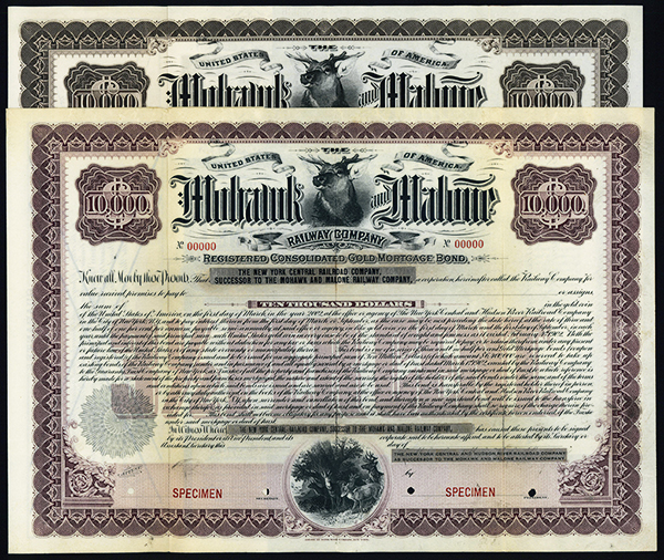 Mohawk and Malone Railway Co., 1902 Specimen Bond.