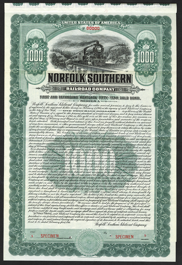 Norfolk Southern Railroad Co. 1902 Specimen Bond