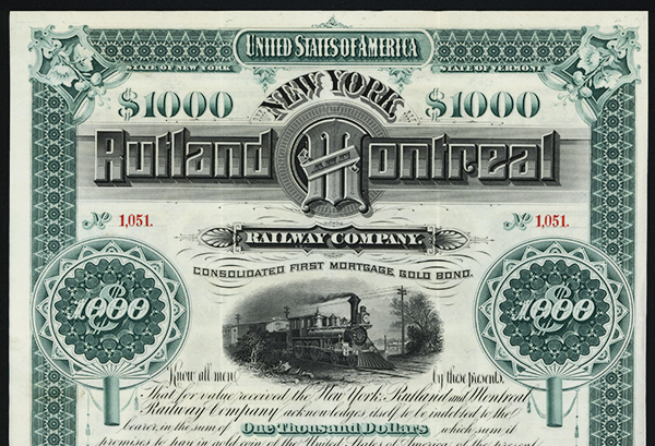 Rutland and Montreal Railway Co., 1884 Issued Bond.
