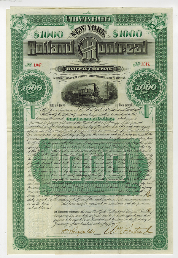Rutland and Montreal Railway Co., Specimen Bond.