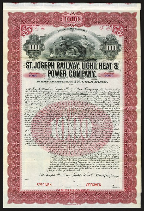 St. Joseph Railway, Light, Heat and Power Co. 1902 Specimen Bond