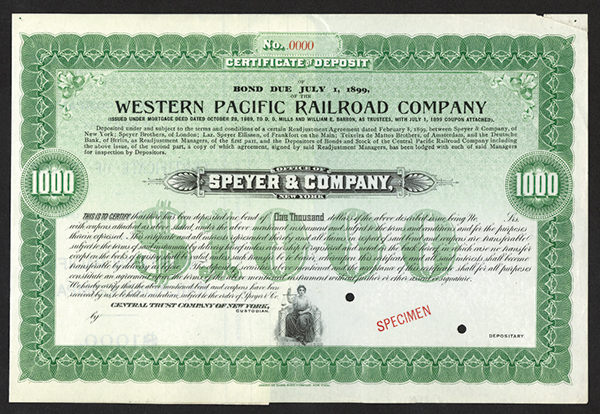 Western Pacific Railroad Co. ca.1869 Specimen Stock