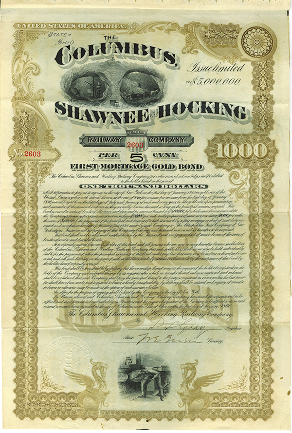 Columbus, Shawnee and Hocking Railway Co., 1890 Issued Bond