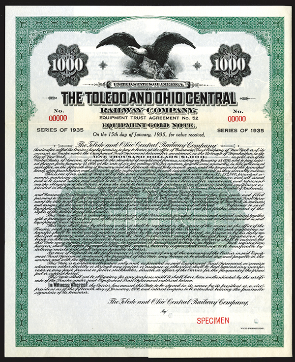 Toledo and Ohio Central Railway Co., 1920 Specimen Bond.