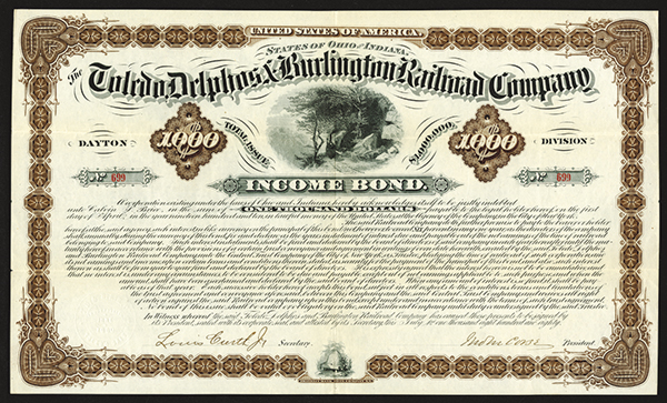 Toledo, Delphos, and Burlington Railroad Co., 1880 Issued Bond