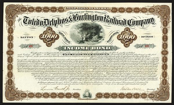 Toledo, Delphos, and Burlington Railroad Co., 1880 Issued Bond
