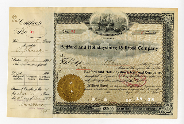 Bedford and Hollidaysburg Railroad Co., 1908 Stock Certificate.