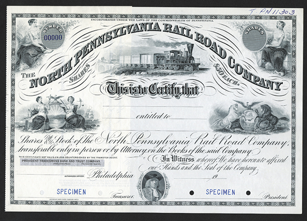 North Pennsylvania Rail Road Co. ca.1900 Specimen Stock