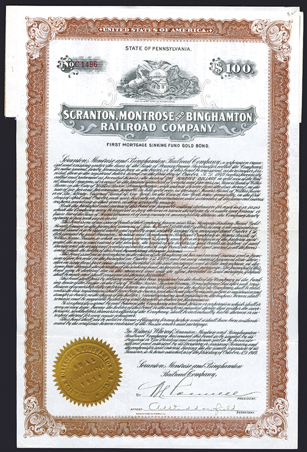 Scranton, Montrose and Binghamton Railroad Co., 1919 Issued Bond.