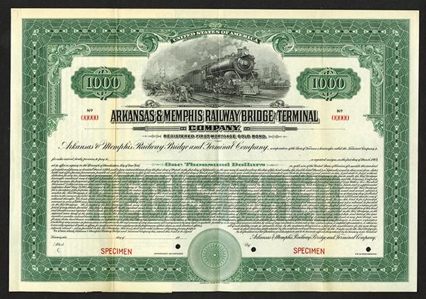 Arkansas and Memphis Railway Bridge and Terminal Co., 1914 Specimen Bond