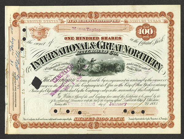 International and Great Northern Railroad Co., 1880 Issued/ Canceled Certificate