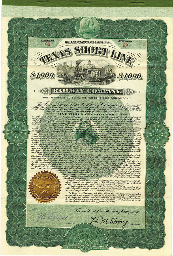 Texas Short Line Co., 1902 Issued Bond