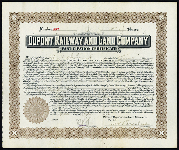 DuPont Railway and Land Co., 1913 Issued Stock.