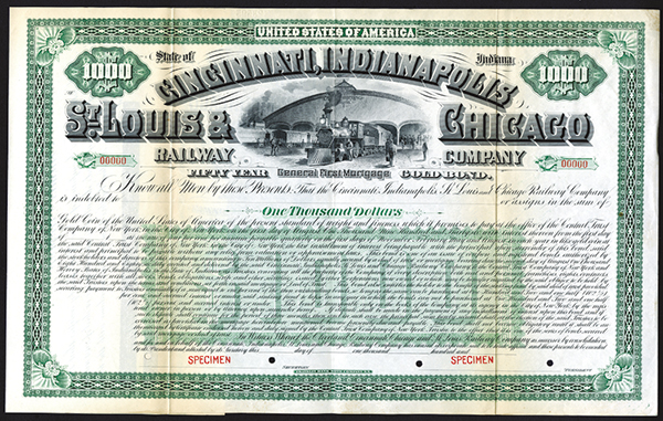 Cincinnati, Indianapolis, St. Louis & Chicago Railway Co., 1886 Specimen Bond.