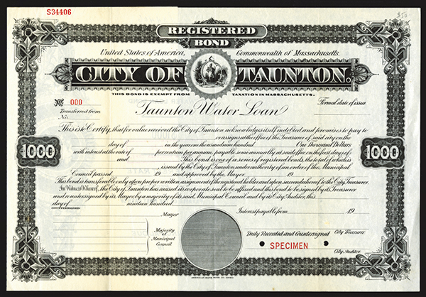City of Taunton ca.1900 Specimen Bond.