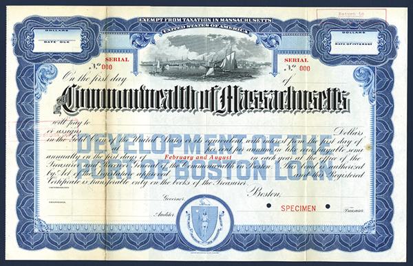 Commonwealth of Massachusetts, ca.1900-1920 Specimen Bond.