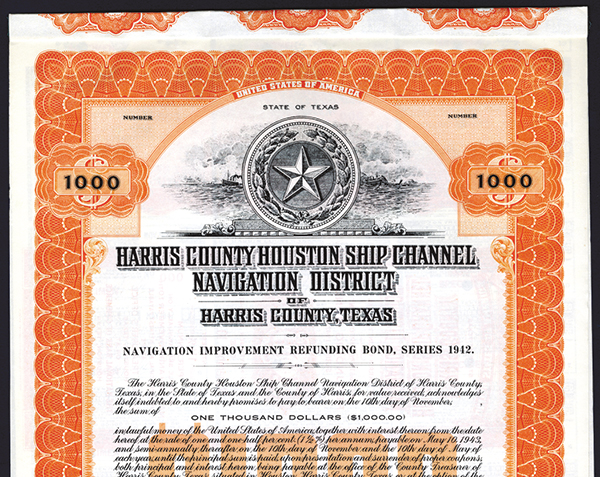 Harris County Houston Ship Channel Navigation District, 1929 Specimen Bond.
