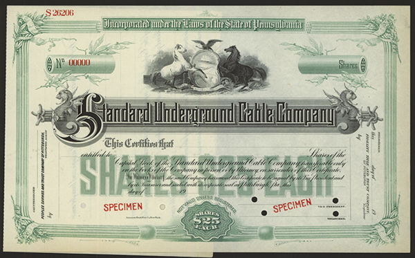 Standard Underground Cable Co., ca.1900 Specimen Stock.