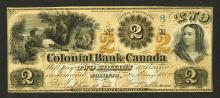 Colonial Bank of Canada, 1859 Obsolete Banknote.