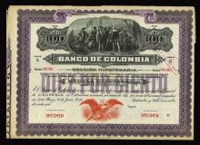 Banco De Colombia, 1924 Specimen