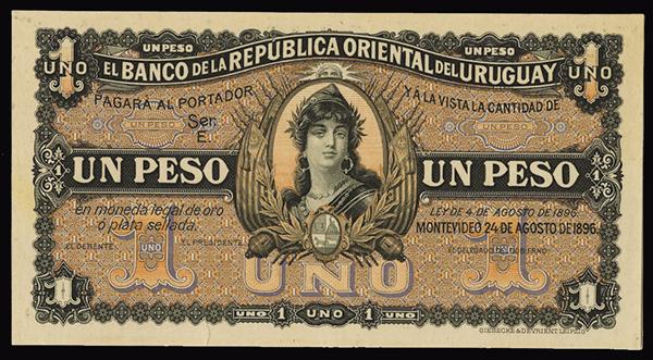 Banca Oriental De Pr:Lot 719: Banco De La Republica Oriental Del Uruguay, 1896 Specimen