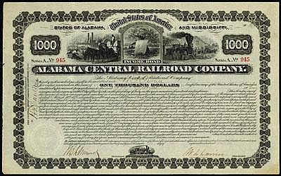 Alabama. Mississippi. Alabama Central Railroad Co. - Holders Entitled to Net Earnings of Co. No greater Than 8% Income bond.