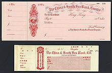China & South Sea Bank, Ltd. Waterlow Specimen Check or Exchange Pair.