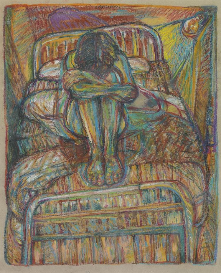 Yiannis PSYCHOPEDIS - Greek, born 1945 | Female on the bed