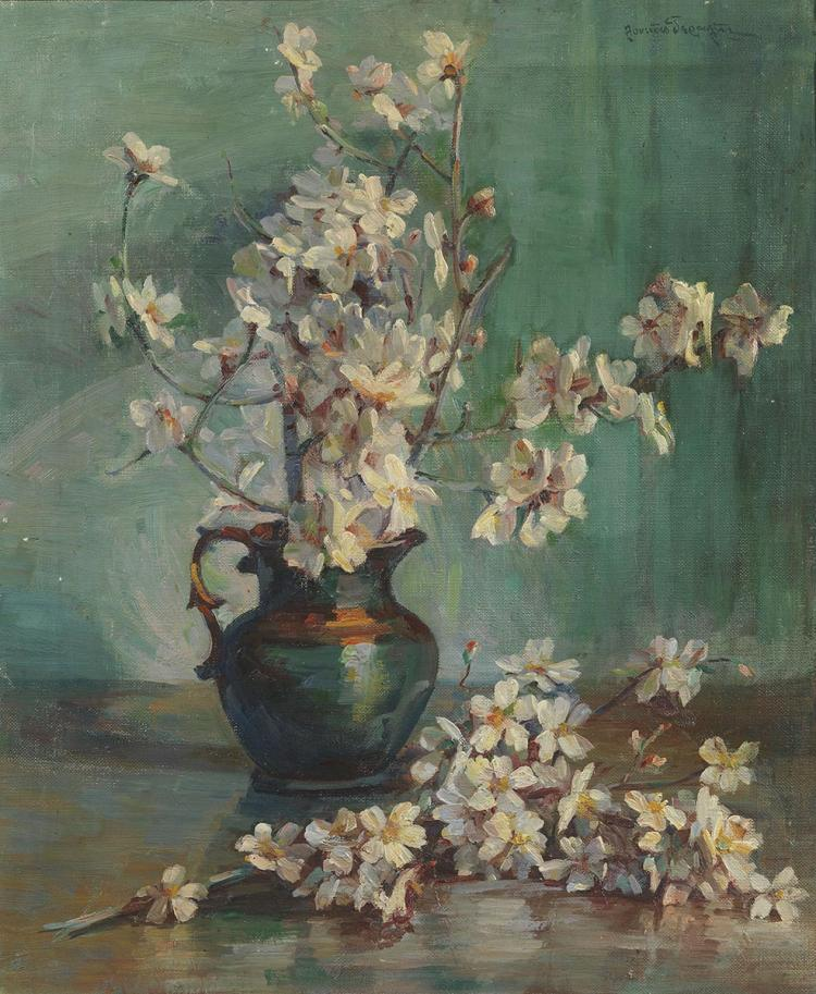 Lucas GERALIS - Greek, 1875-1958 | Still life with almond tree flowers