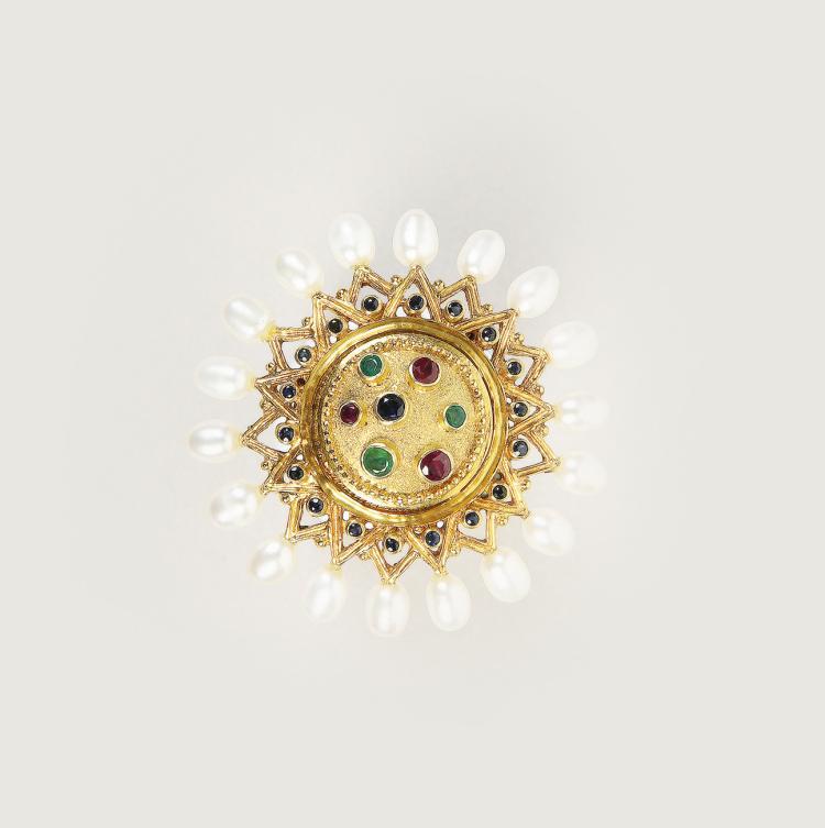Ilias LALAOUNIS - Greek jeweller | Grecian shield brooch