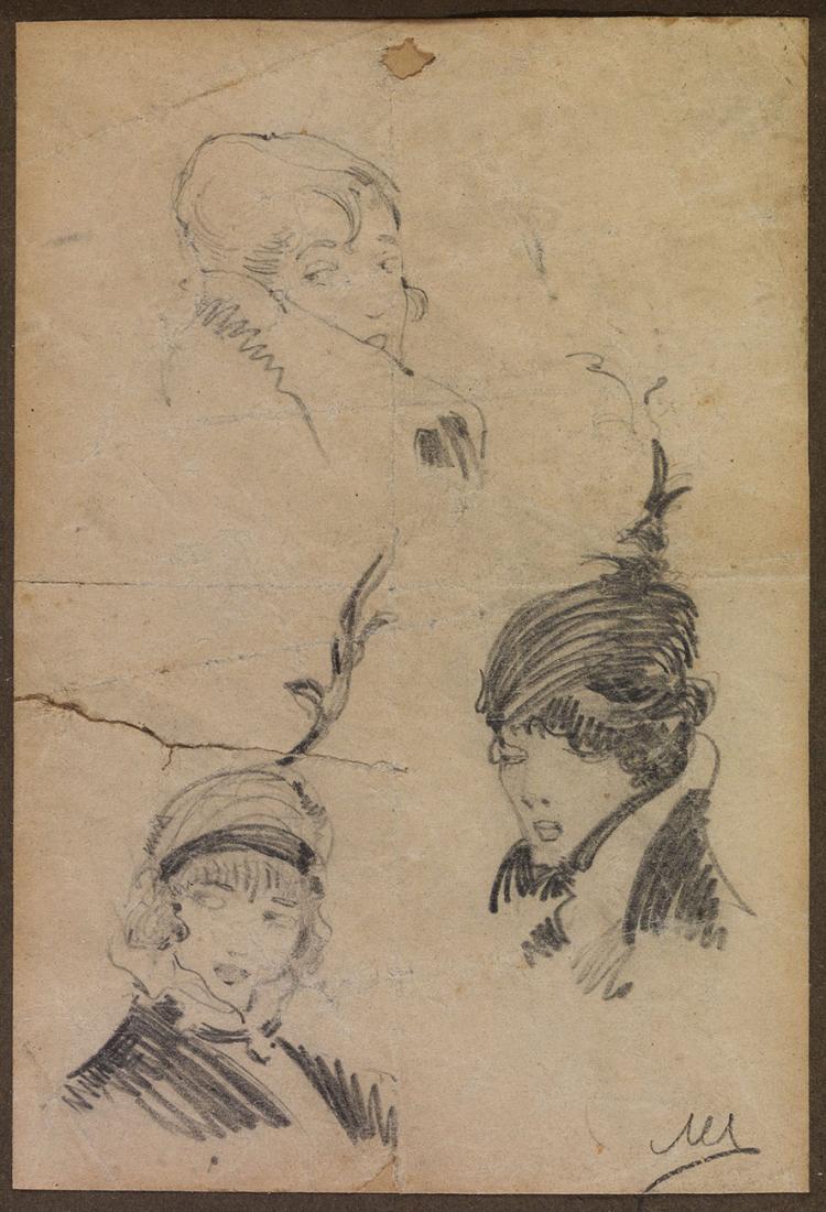Nikolaos LYTRAS - Greek, 1883 -1927   Three female heads