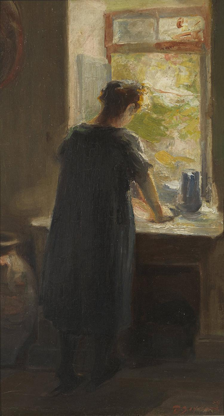 Theodoros LAZARIS - Greek, 1882-1978 | Young girl at the window