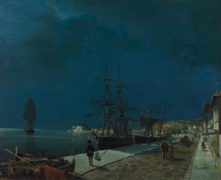 Constantinos VOLANAKIS - Greek, 1837 -1907   Moonlit harbour of Volos