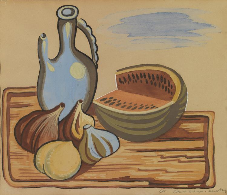 Agenor ASTERIADIS - Greek, 1898-1977 | Still life with watermelon