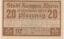 20 PFENNIG KEMPEN-RHEIN 1920 GERMANY PAPER MONEY