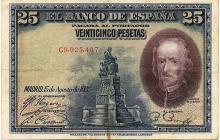 25 PESETAS 1928 SPAIN BANK NOTE