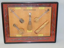 6 MINIATURE EXAMPLES OF CHINESE MUSICAL INSTRUMENTS.