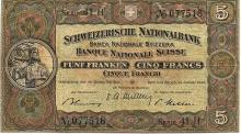 5 FRANKEN 1949 SWISS PAPER MONEY