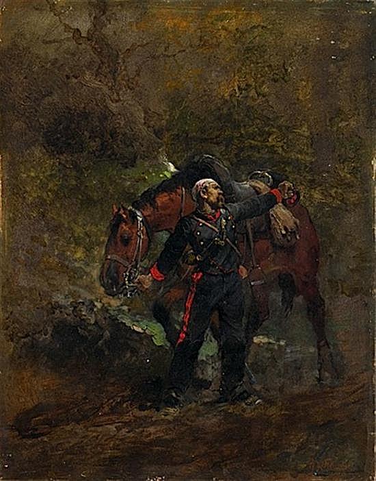 Alphonse-Marie de NEUVILLE Saint-Omer, 1835 - Paris, 1885 Scène de la guerre de 1870, artilleur à cheval blessé Huile sur panneau