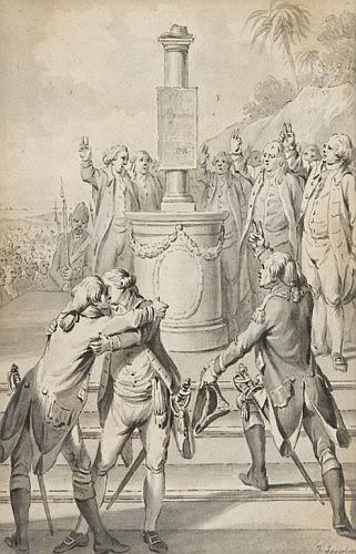 Jean-Jacques François Le Barbier, dit Le Barbier l'Ainé Rouen, 1738 - Paris, 1826 « Allégeance à la Déclaration des Droits de l'Homm...