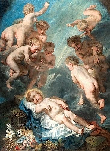 Octave Tassaert Paris, 1800 - 1874 Le Christ enfant avec les instruments de la Passion dans une nuée d'angelots Huile sur toile, ren..