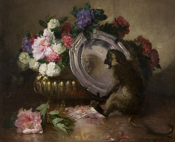 Charles Monginot Brienne-Napoléon, 1825 - Deauville, 1900 Singe jouant avec un plat d'argent près d'une vasque de fleurs Huile sur t.